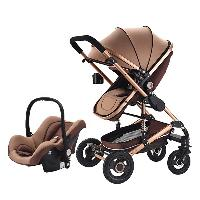 High Quality Aluminum Alloy Inflatable Rubber Wheel Luxury Baby Stroller Pram 3 in 1 (SF-SB038)